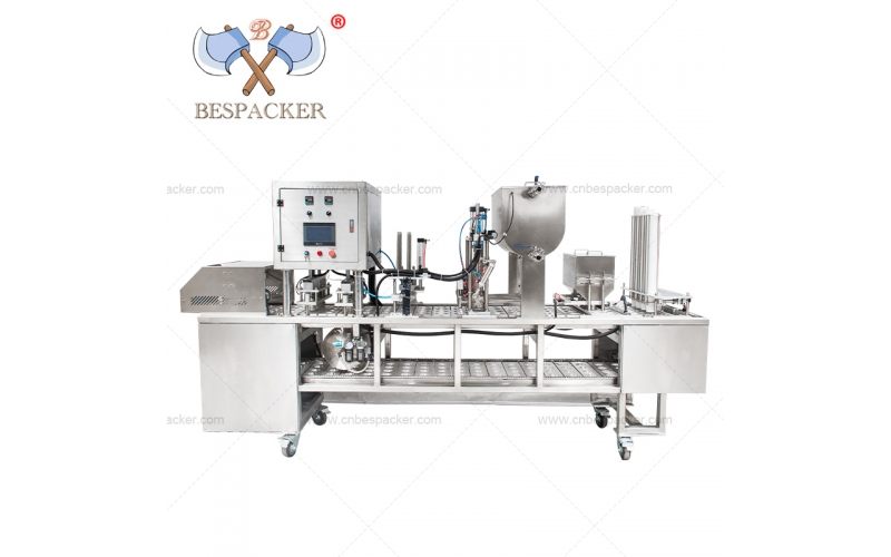 Bespacker liquid granule spices automatic cup filling and sealing machine with ink jet